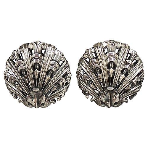 1950s Napier Silvertone Shell Earrings