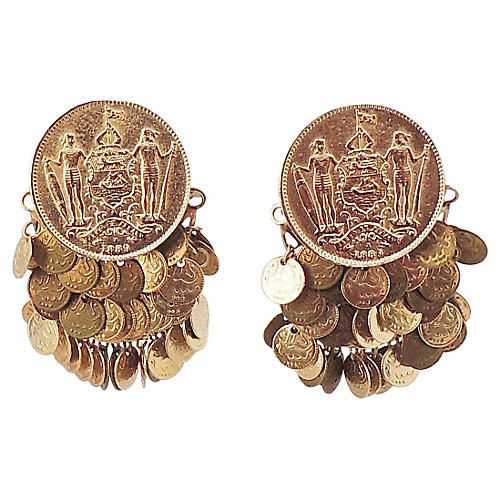 1970s Napier Faux-Coins Earrings