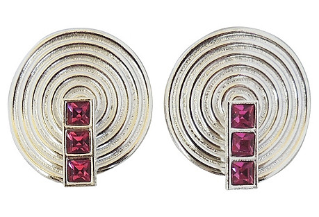 1980s YSL Modernist Silvertone Earrings