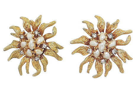 Boucher Faux-Pearl & Paste Earrings