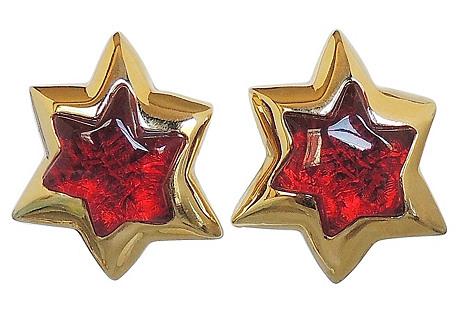 1980s Les Bernard Star Earrings