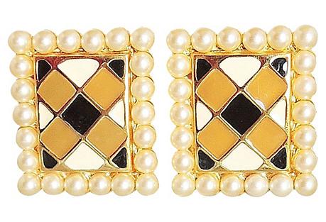 Valentino Checked Enamel Earrings