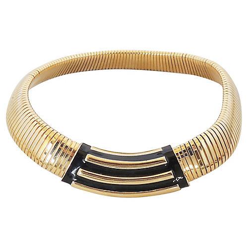 1980s Monet Black Enamel Collar