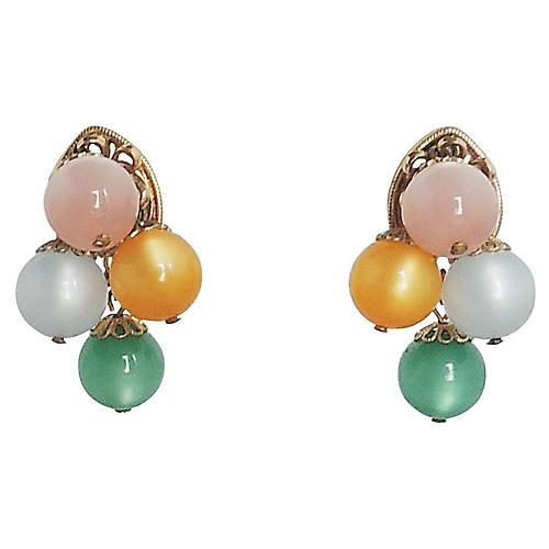 1960s Napier Pastel Moonglow Earrings