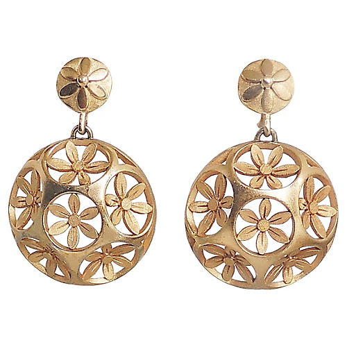 1960s Trifari Domed Flower Earrings