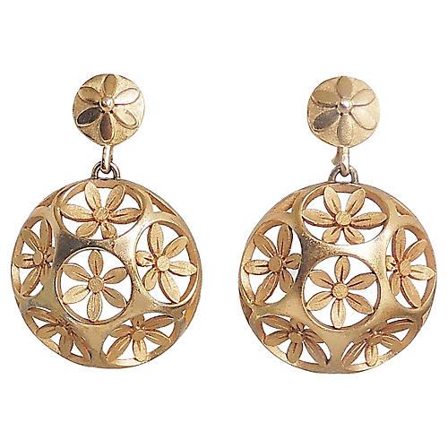 1960s Trifari Domed Flower Earrings