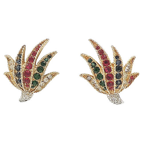 Boucher Fan-Shaped Rhinestone Earrings