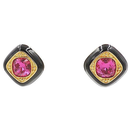 Swarovski Faux-Ruby & Enamel Earrings