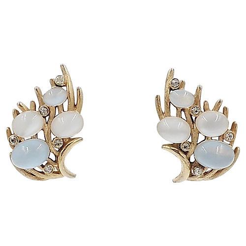 1960s Trifari Faux-Moonstone Earrings