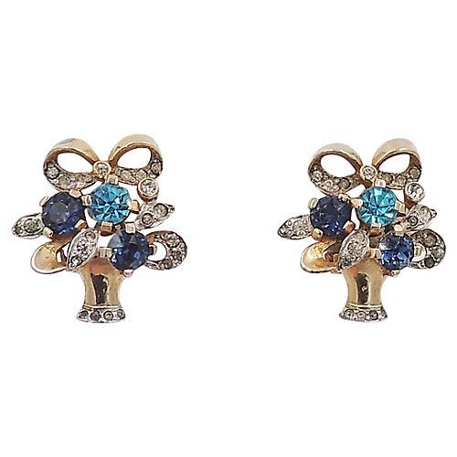 1940s Flower Basket Earrings