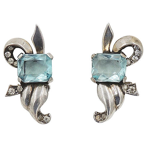 1940s Mazer Faux-Aquamarine Earrings
