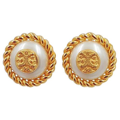 Fendi Greek Faces Faux-Pearl Earrings