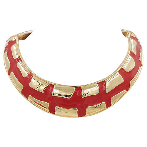 Valentino Modernist Red Enamel Collar