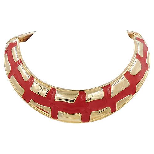 Valentino Modernist Red Enamel Collar