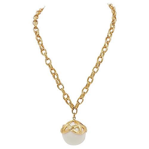 Monet White Lucite Pendant Necklace