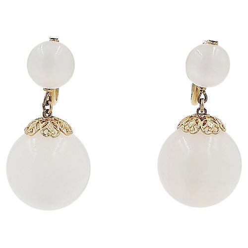 Napier White Moonglow Drop Earrings