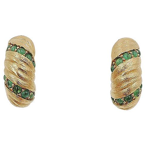 Jomaz Faux-Emerald Half-Hoop Earrings