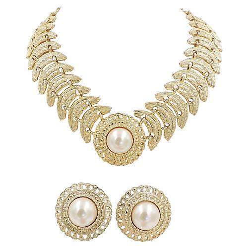 1980s Faux-Pearl Necklace & Earrings