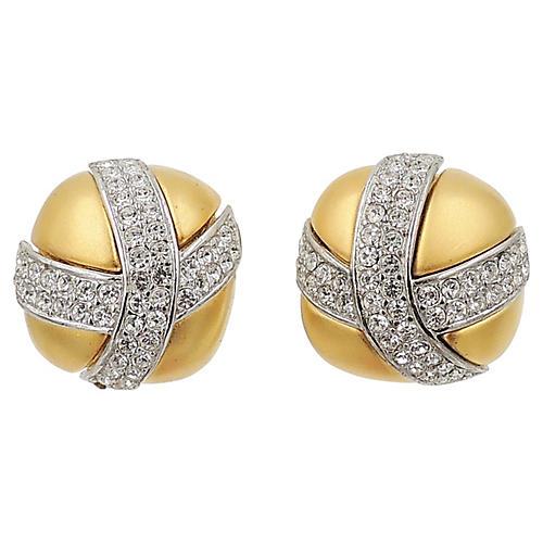 1980s Givenchy Pavé Rhinestone Earrings