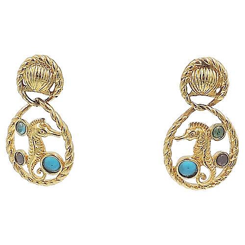 Trifari Seahorse Cabochon Earrings