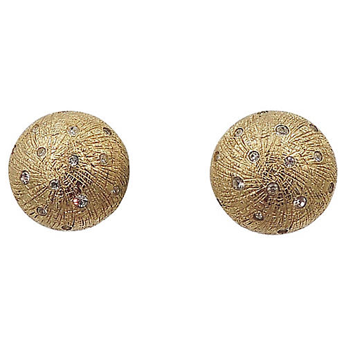1980s Christian Dior Rhinestone Earrings