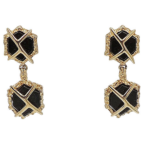 1960s Panetta Faux-Onyx Earrings