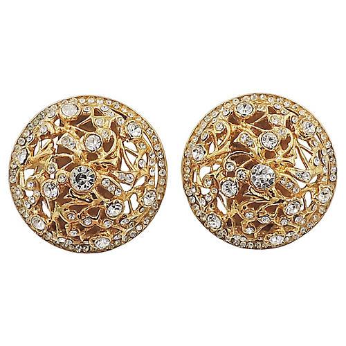 Bijoux Cascio Domed Rhinestone Earrings