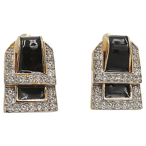 Valentino Black Enamel Buckle Earrings