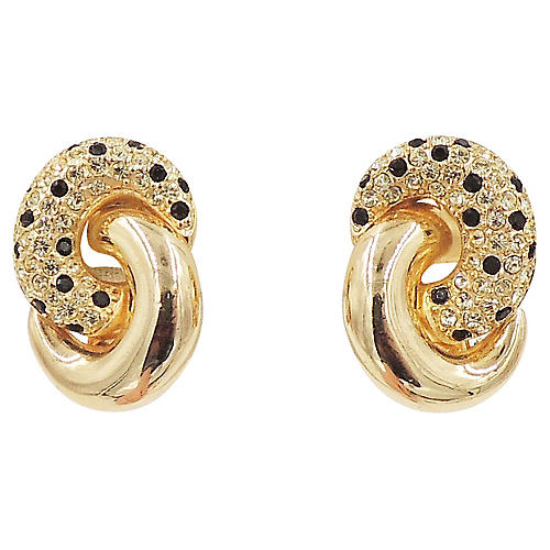 1980s Dior Pavé Spotted Earrings