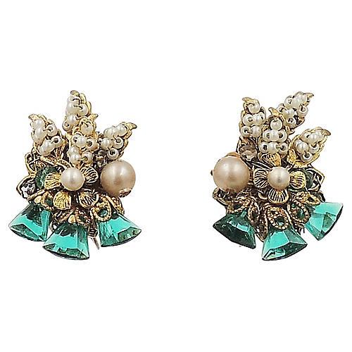 1960s Haskell Faux-Emerald Earrings