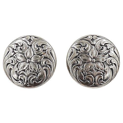 1960s Napier Silvertone Floral Earrings