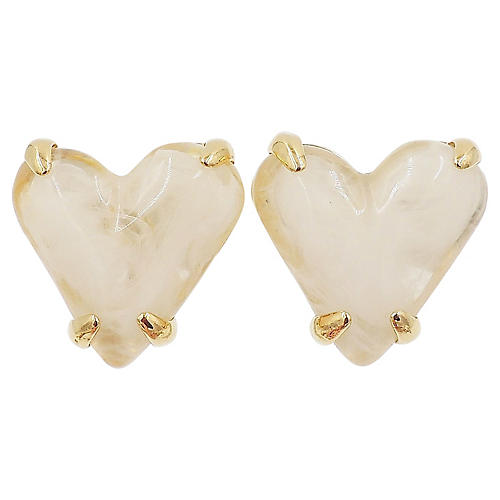 1980s Givenchy White Heart Earrings