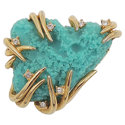Boucher Turquoise Faux-Coral Brooch