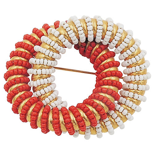 1970s DeLillo Red & White Beaded Pin