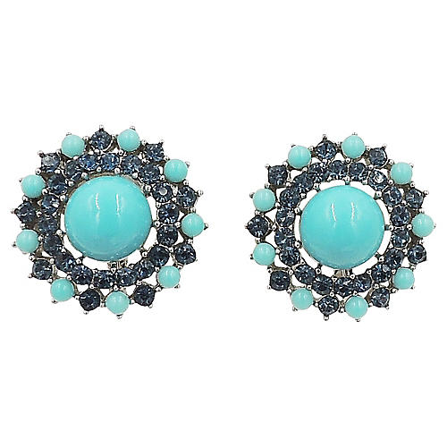1950s Trifari Faux-Turquoise Earrings