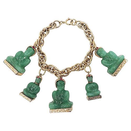 1960s Faux-Jade Buddha Charm Bracelet