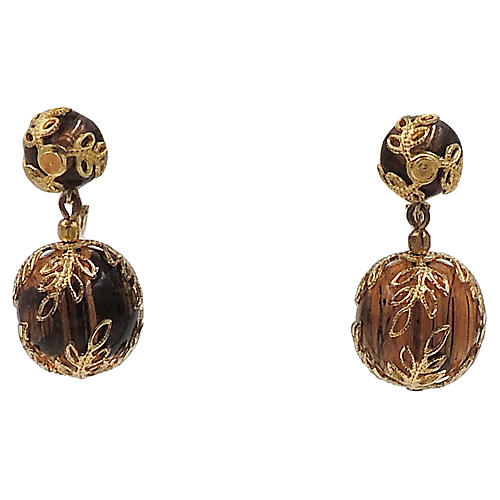 Trifari Faux-Tortoise Drop Earrings