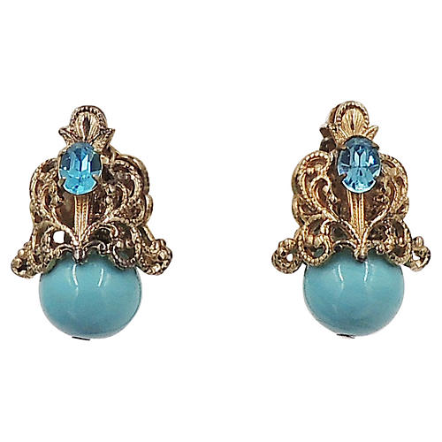 1960s Napier Faux-Turquoise Earrings