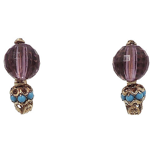 1960s Napier Purple Bead Earrings