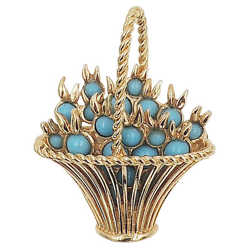 1960s Boucher Faux-Turquoise Basket Pin