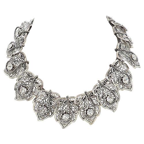 1950s Napier Silvertone Leaf Necklace