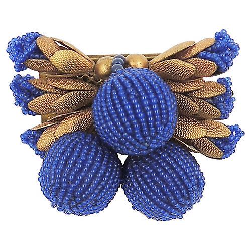 1930s Czech Blue Beaded Brooch