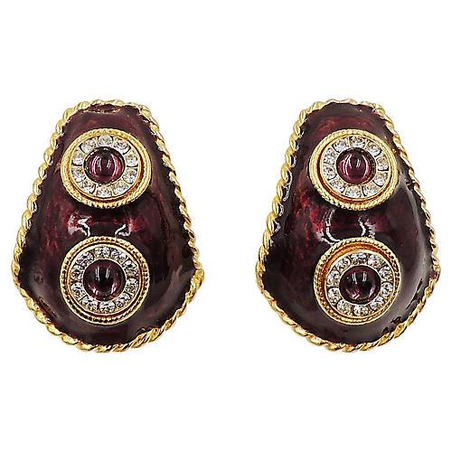 Yosca Enameled Cabochon Earrings