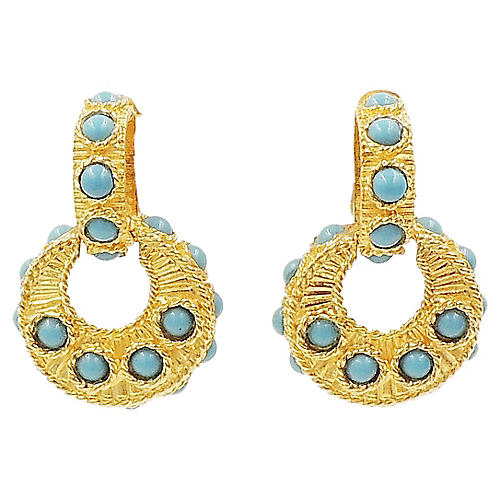 Mimi di N Faux-Turquoise Hoop Earrings