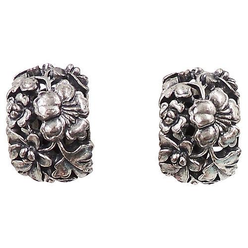 Napier Floral Half-Hoop Earrings