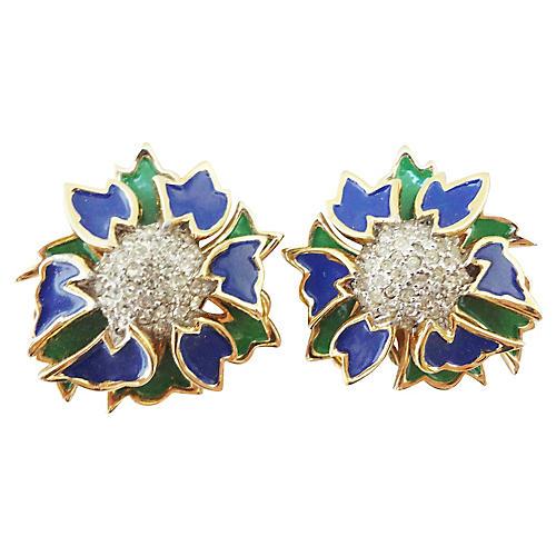 Jomaz Enamel Pavé Rhinestone Earrings