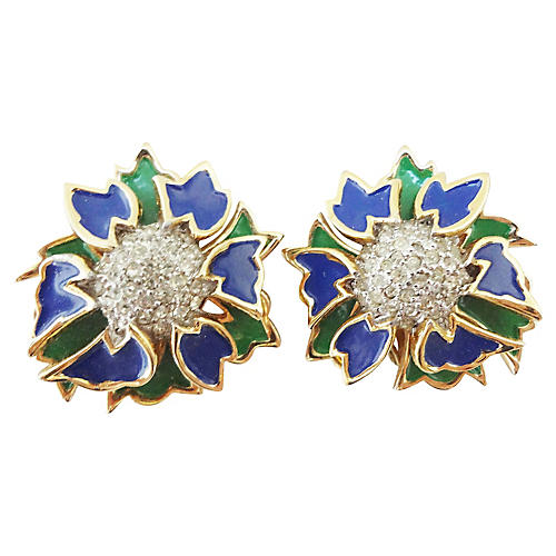 Jomaz Enamel Pavé Rhinestone Earrings
