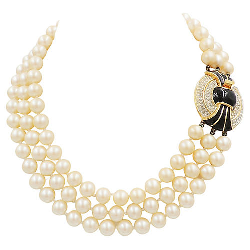 1980s Kenneth Lane Faux-Pearl Necklace