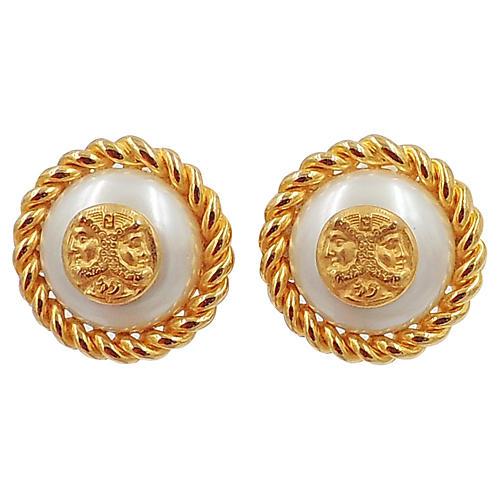 1980s Fendi Greek Profile Earrings