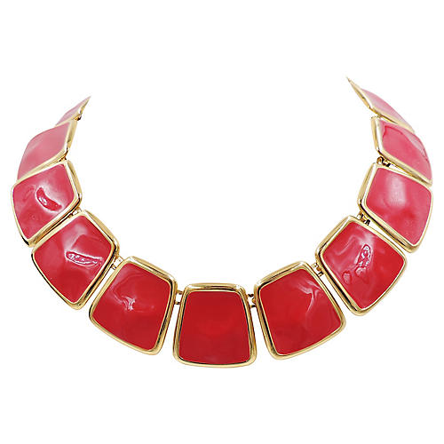 Monet Red Enamel Collar Necklace, 1972